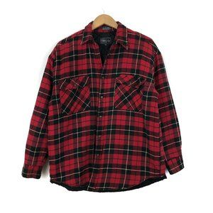 Red plaid fall aviator button-up jacket flannel